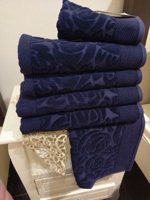 מגבת מהודרת דגם גרדניה כחול