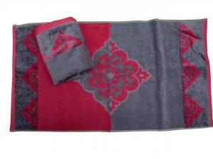 מגבת דגם יהלום צבעי אפור בורדו