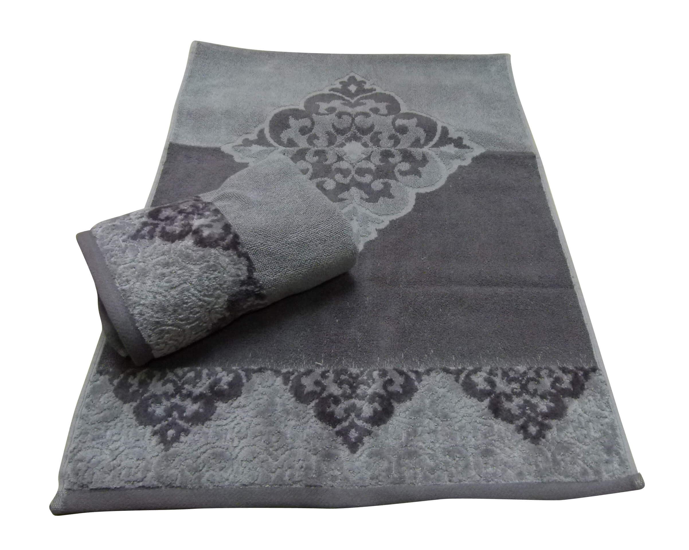 מגבת דגם יהלום צבע אפור