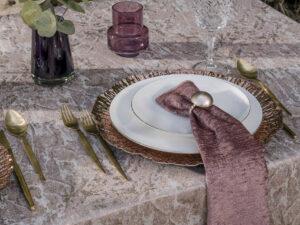 מפית בד קטיפה ורוד עתיק-6 יחי'