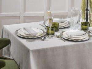 מפת שולחן דגם פשתן אפור