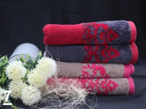 מגבת דגם יהלום צבעי אפור ורוד