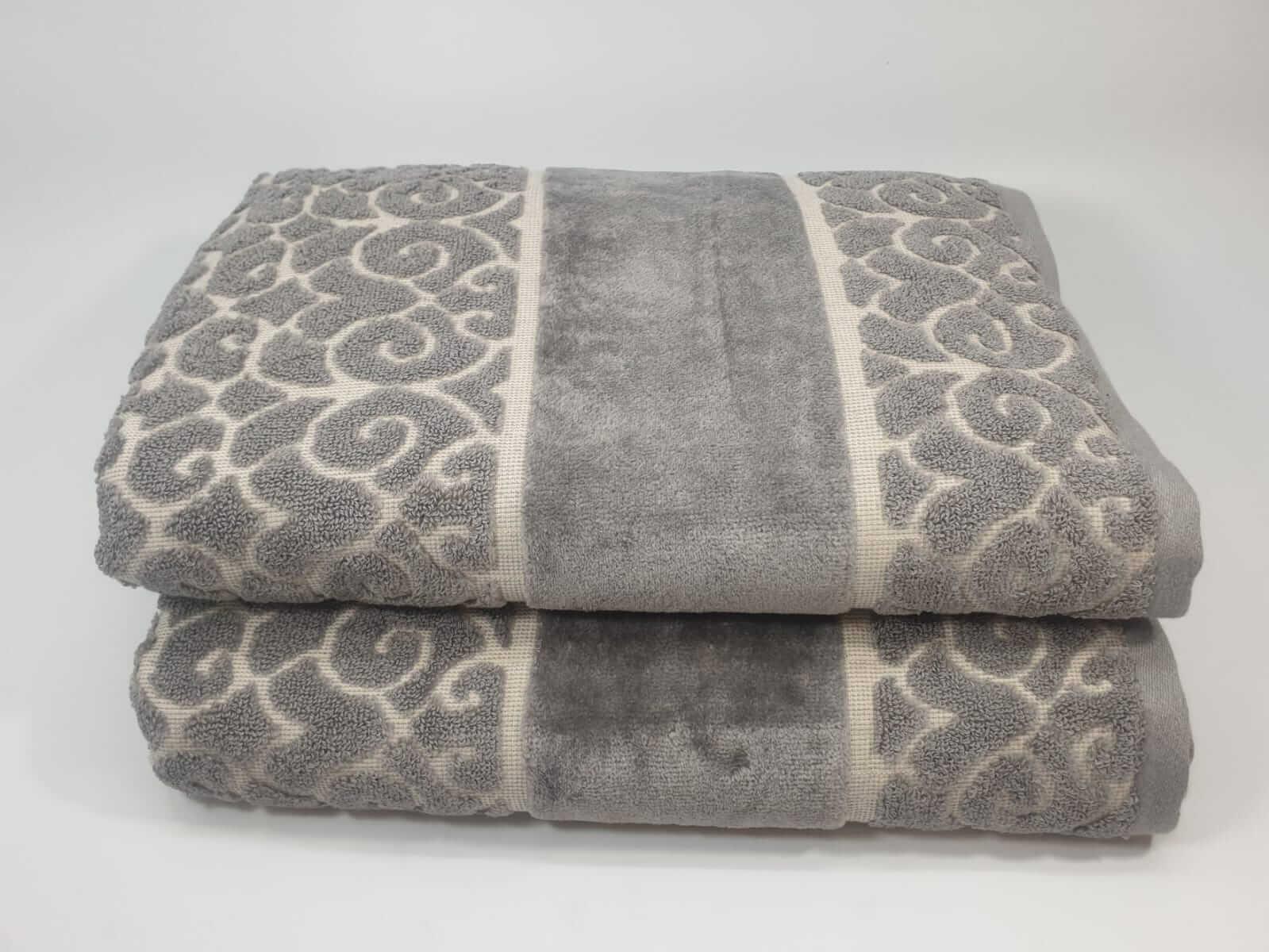 מגבת דגם לולאות אפור