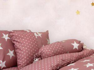 מצעי ילדים דגם כוכבים ורוד