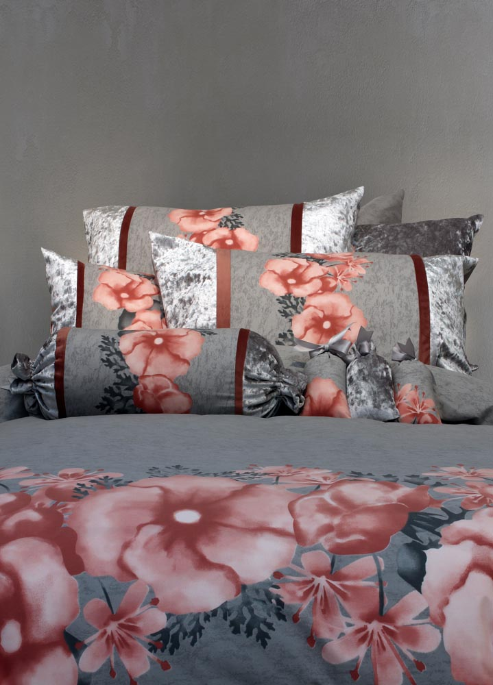 מצעים לחדר שינה דגם רוזס אפור