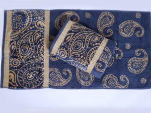 מגבות הרמוניה דגם פייזלי כחול