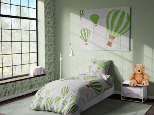 מצעי ילדים דגם חלומות פורחים ירוק
