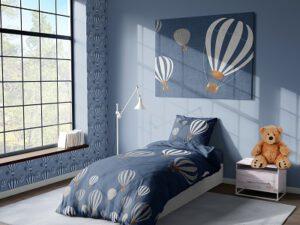 מצעי ילדים דגם חלומות פורחים כחול