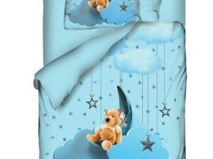 מצעי ילדים דגם דובי עננים תכלת