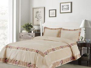 כיסוי מיטה יחיד דגם אמדאוס קטיפה שמנת