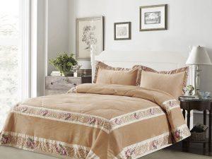 כיסוי מיטה יחיד אמדאוס קטיפה אופוויט