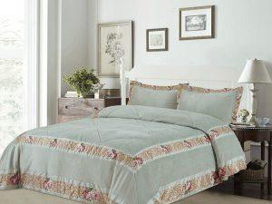 כיסוי מיטה יחיד דגם אמדאוס קטיפה טורקיז