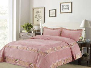 כיסוי מיטה יחיד דגם אמדאוס קטיפה ורוד
